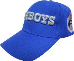 Gorra azul rey plana con bordado en 3d de frente de Cowboys, equipo de futbol americano, con logotipo de nfl por detrás
