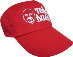 Gorra roja plana con estampado a la medida en blanco, con viscera, gorra de calidad, suave en poliester y algodon